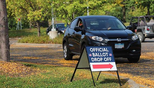 Car going to ballot drop-off site