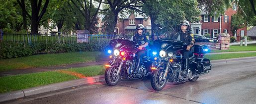 The Edina Police Department has two motorcycle officers.