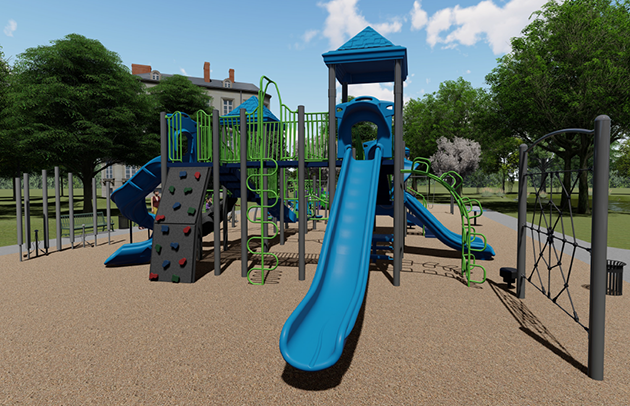 Blue and green playground design for Fred Richards Park